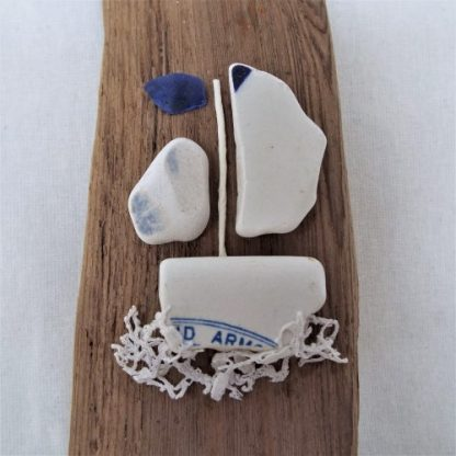 Driftwood with boat close up