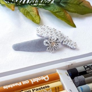 CherylsJewellery - Snow and Ice Blue Flower Crystal Hair Clip