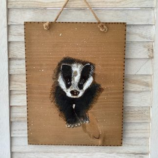 Badger original art on wood