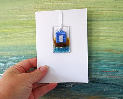 Fused glass greeting card with gift - indigo blue beach hut