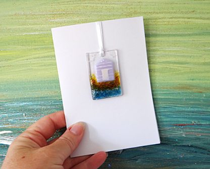 Fused glass greeting card with gift - violet purple beach hut