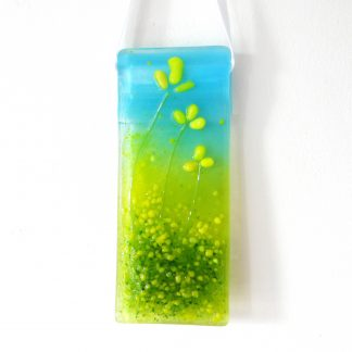 Yellow flowers fused glass light catcher