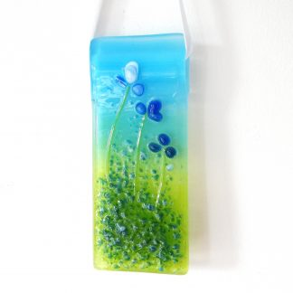 Blue flowers fused glass light catcher