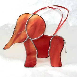 Stained Glass Rustic Orange Baby Elephant