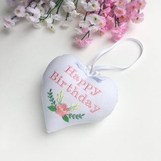Embroidered Birthday heart with floral design