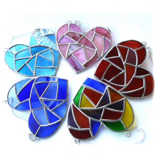 Fat patchwork heart stained glass suncatcher joysofglasskphAt