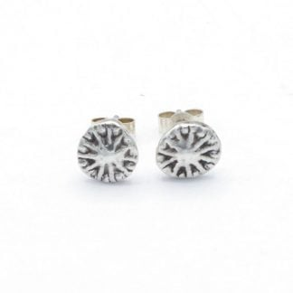 Silver poppy seed head stud earrings