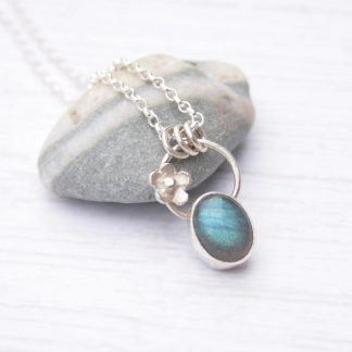 Sterling silver botanical necklace with labradorite by Thistledown WIshes