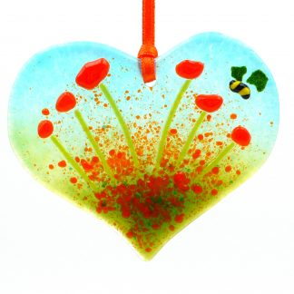 Heart shaped fused glass flowers light catcher with bee