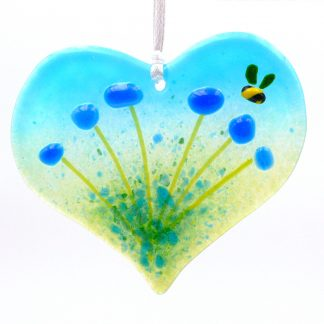 Heart shaped blue flowers light catcher with bee