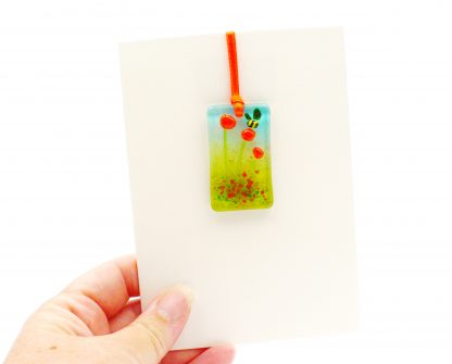 Fused glass greeting card with gift - orange flowers light catcher with bee