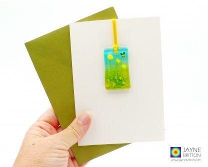 Fused glass greeting card with gift - yellow flowers light catcher with bee
