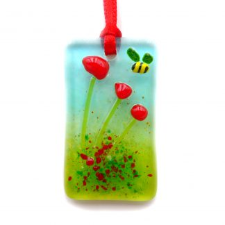 Fused glass greeting card with gift - poppies - red flowers light catcher with bee