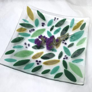 Fused Glass Green Leaf Platter with purple highlights