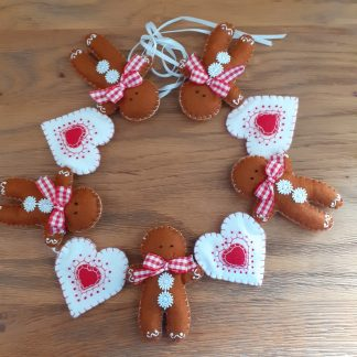 A Nordic inspired garland of felt Gingerbread men