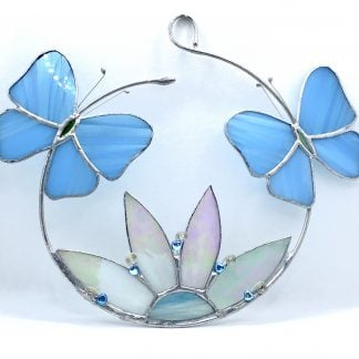 Pale Blue Stained Glass Butterfly hoop