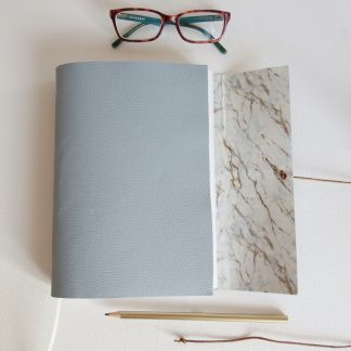 Pale Blue Leather Journal Carrera Marble Journal, A5 size, Mallory Journals