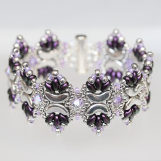 Pointy Silver and Purple Cuff Bracelet