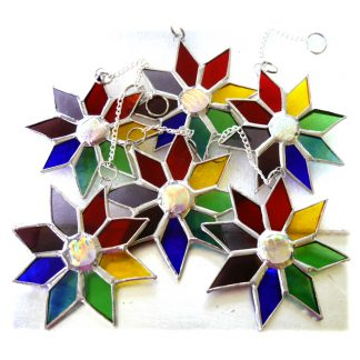 Dichroic Rainbow Christmas Star Stained Glass Suncatcher