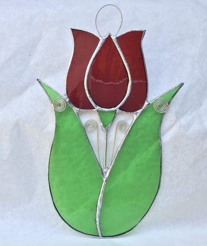 Stained Glass Red Tulip with green leaves and wire embellishments