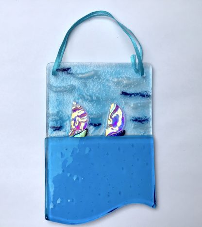 Fused Glass dichroic sailing boats