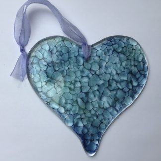 fused glass sea green heart