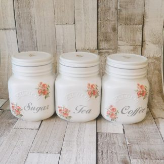 White and Pink Rose Square Canisters