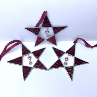 Trio or Stained Glass Ruby Red Stars