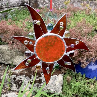 Stained Glass decorated Sunshine hanging with bead embellishments