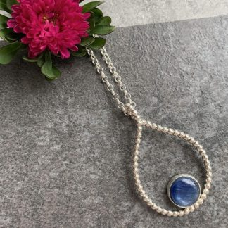 Blue kyanite gemstone pendant