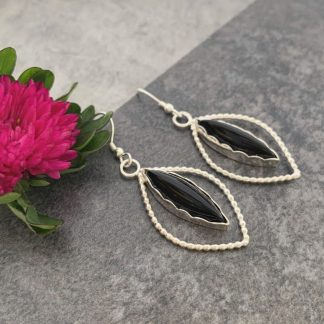 Black onyx gemstone silver earrings
