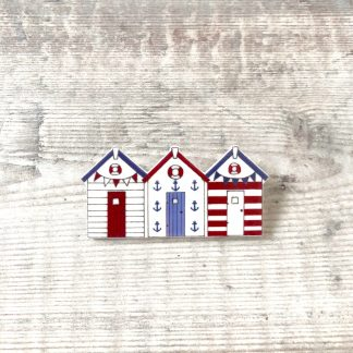 Beach huts pin badge summer accessories