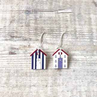 Beach hut nautical drop earrings