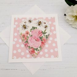 Flowers and Bees Heart Card