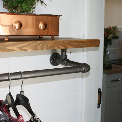 clothes rail with rustic shelf and pipe rail