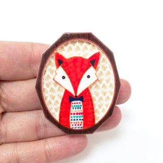 Fox cameo orange animal brooch