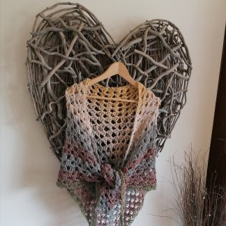 lightweight crocheted shawl in shades of brown