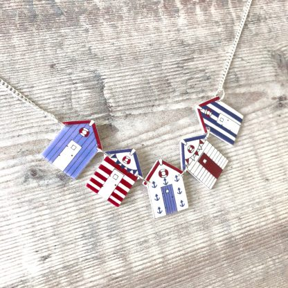 Nautical stripes beach huts necklace