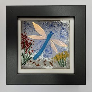 Fused Glass Iridescent Dragonfly and flowers box frame
