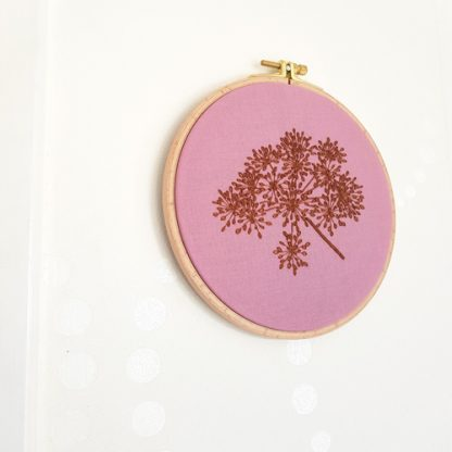 autumn seedhead embroidery, dusty pink and brown