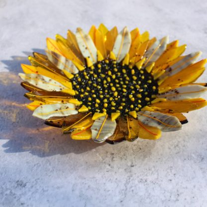Sunflower bowl, fused glass