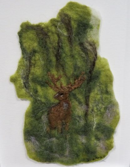 Stag in Wood Felt Painting