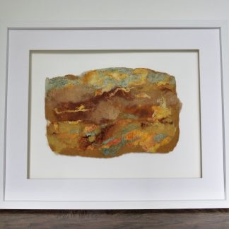 Shows handmade wet felt painting Autumn Equinox by Louise Hancox Textile Artist