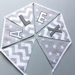 Personalised Grey & white fabric bunting