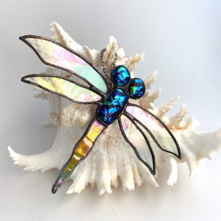 Stained glass dragonfly with blue green dichroic glass accents