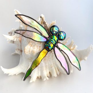 Stained glass dragonfly with dichroic glass accents
