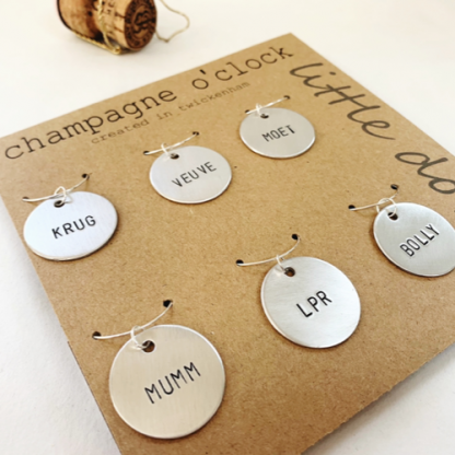 Champagne wine glass charms