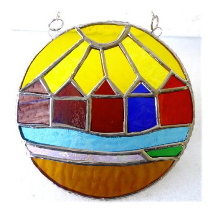 beach hut ring stained glass suncatcher