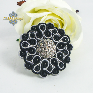 Black Statement Soutach Brooch MollyG Designs