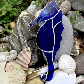 Blued Stained Glass Seahorse